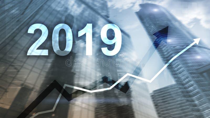 Gráfico financeiro do crescimento do ano novo 2019 no fundo obscuro do negócio ilustração royalty free