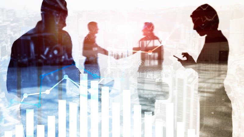 Gráfico financeiro do crescimento Aumento das vendas, conceito da estratégia de marketing ilustração do vetor