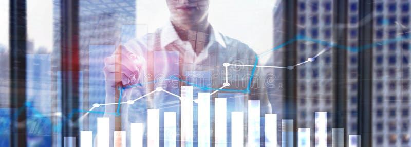 Gráfico financeiro do crescimento Aumento das vendas, conceito da estratégia de marketing imagem de stock