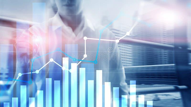 Gráfico financeiro do crescimento Aumento das vendas, conceito da estratégia de marketing ilustração stock