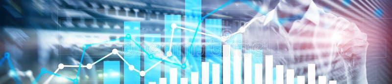 Gráfico financeiro do crescimento Aumento das vendas, conceito da estratégia de marketing Bandeira de encabeçamento do Web site ilustração stock