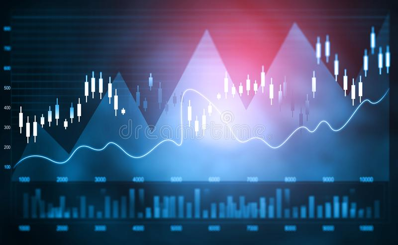 Gráfico financeiro do mercado de valores de ação imagens de stock