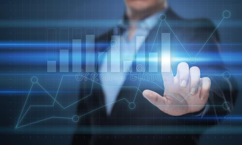 Gráfico financiero Carta del mercado de acción Concepto de la tecnología de Internet del negocio de la inversión de las divisas imagenes de archivo