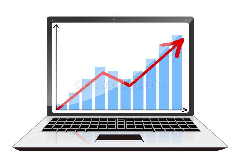 Gráfico financiero de la computadora portátil del ordenador stock de ilustración