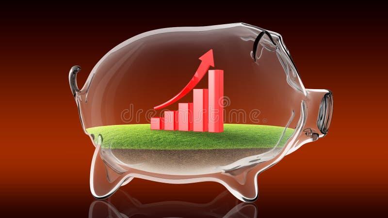 Gráfico financiero de levantamiento dentro de la hucha transparente representación 3d stock de ilustración