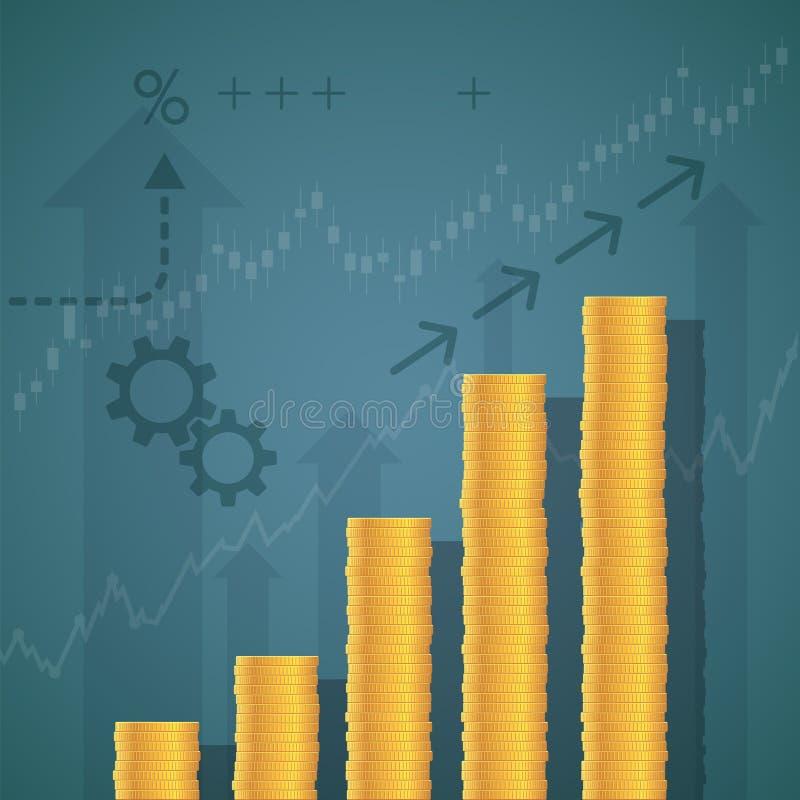 Gráfico financiero de pilas de monedas de oro stock de ilustración