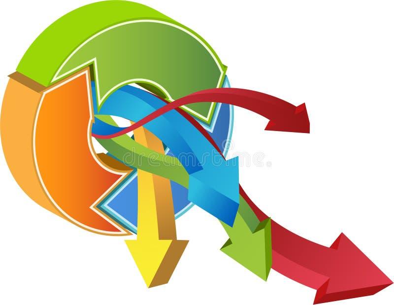 Gráfico financiero del crecimiento - 3D ilustración del vector