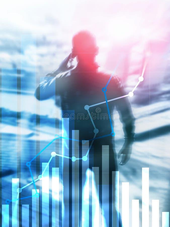 Gráfico financiero del crecimiento Aumento de las ventas, concepto de la estrategia de marketing Formato vertical del diseño abst fotografía de archivo