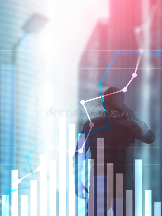 Gráfico financiero del crecimiento Aumento de las ventas, concepto de la estrategia de marketing Formato vertical del diseño abst imagen de archivo