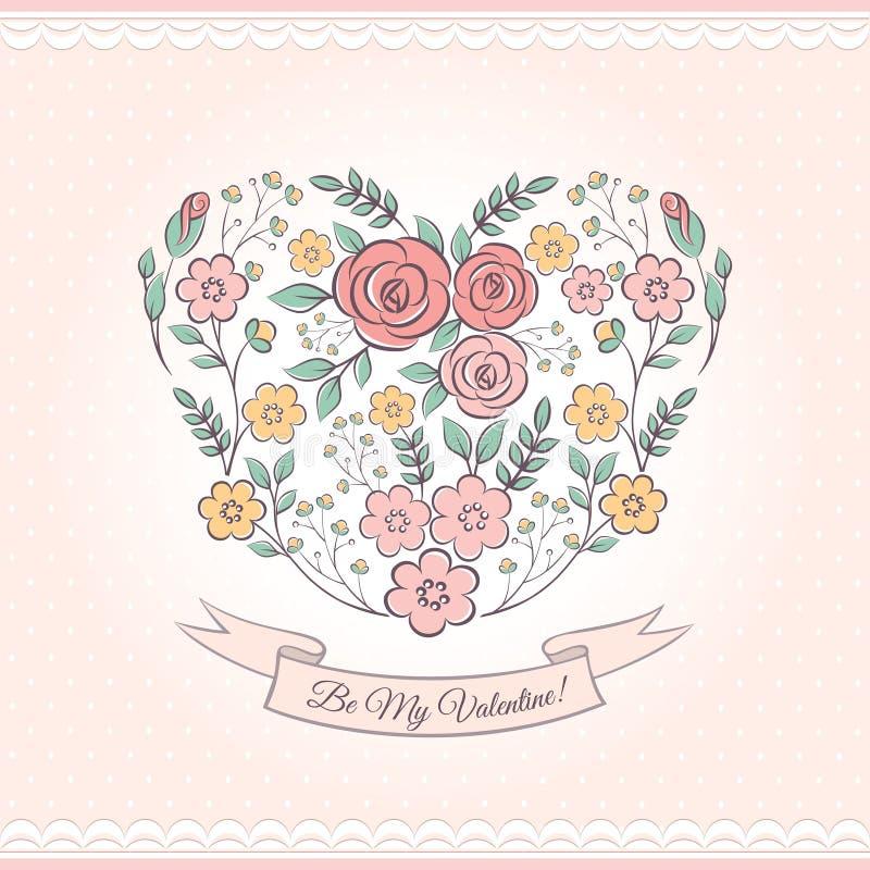 Gráfico floral con el corazón stock de ilustración