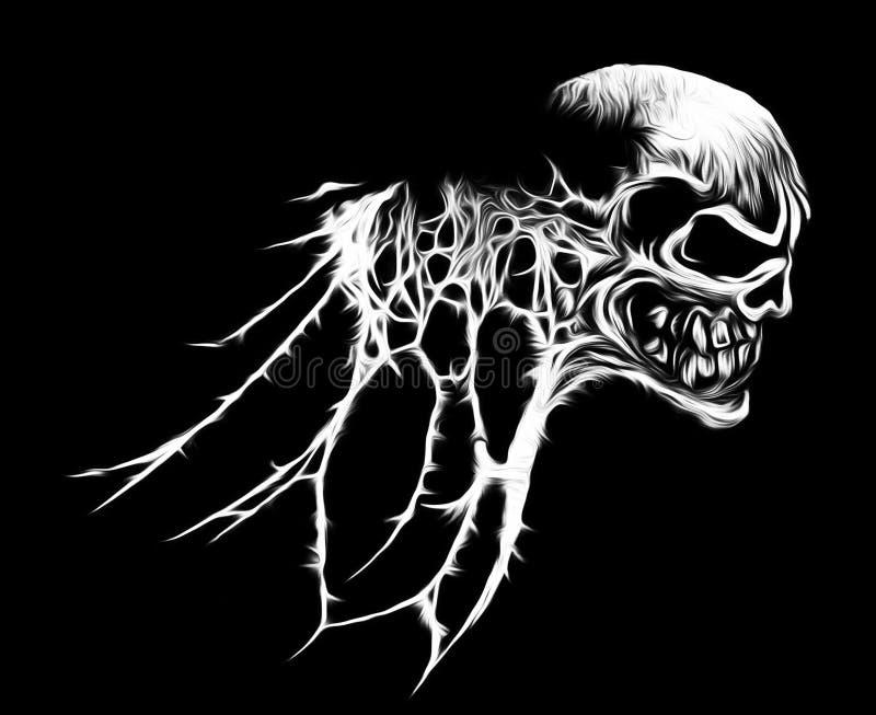 Gráfico fresco del cráneo del web de araña stock de ilustración