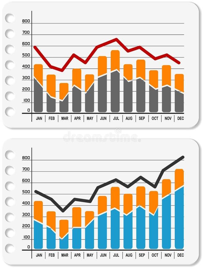 Gráfico hacia arriba y hacia abajo ilustración del vector