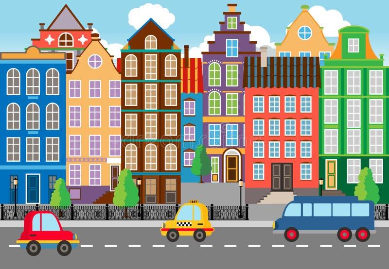 Gráfico inconsútil de la vida de ciudad de Cartooned ilustración del vector