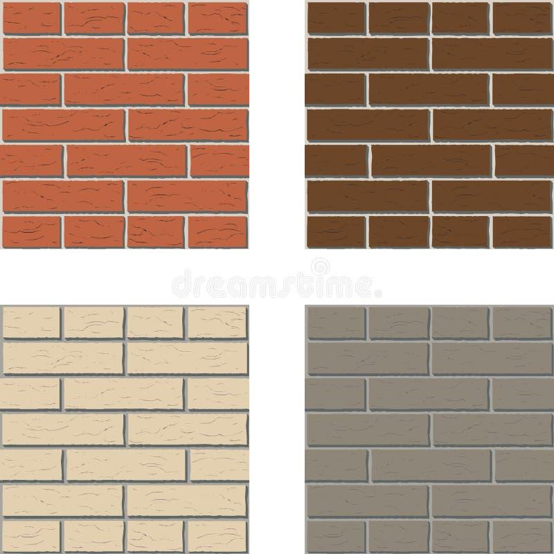 Gráfico interior do teste padrão cinzento marrom vermelho branco do vetor da parede de tijolo ilustração royalty free