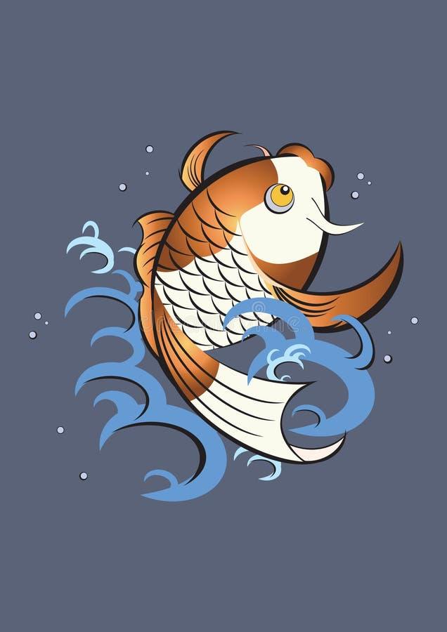 Gráfico japonês dos peixes do koi ilustração stock