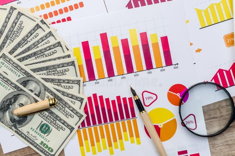 Gráfico, lente de aumento e dólar fotografia de stock