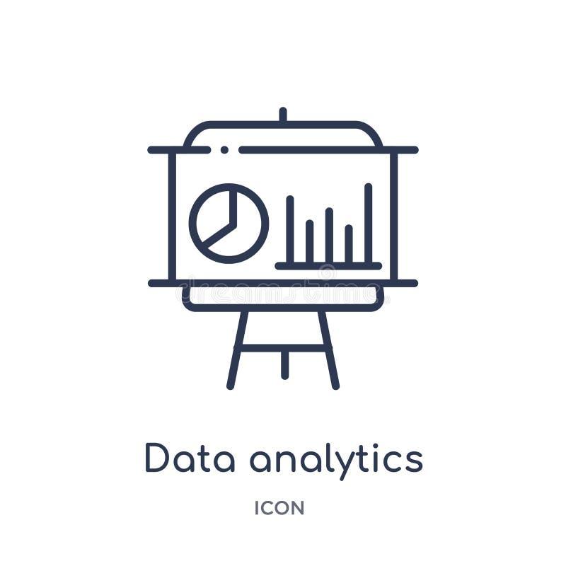 Gráfico linear del analytics de los datos en un icono de la pantalla de la presentación de la colección del esquema del negocio L ilustración del vector