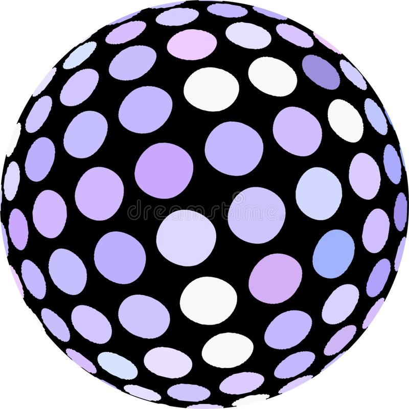 Gráfico macro do mosaico da esfera 3d isolado Às bolinhas brancos no fim preto do globo acima do objeto ilustração do vetor