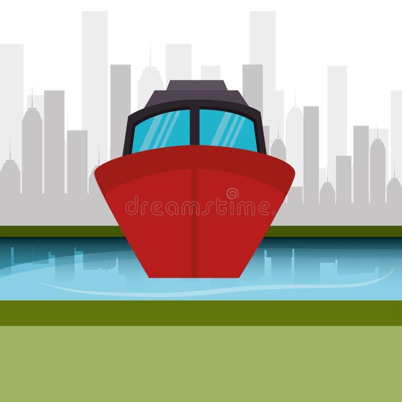 Gráfico marinho da arquitetura da cidade do barco ilustração do vetor
