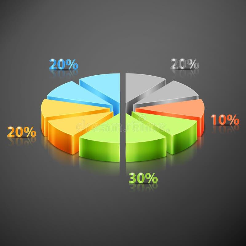 Gráfico metálico da torta do infographics ilustração royalty free