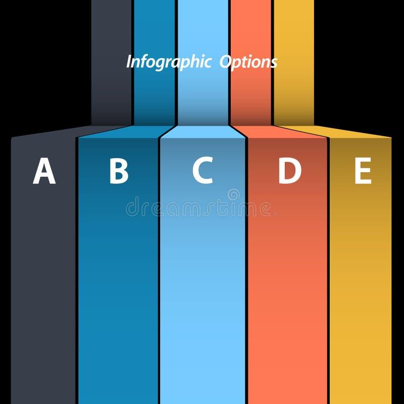 Gráfico multicolor de la información del papel en blanco en fondo negro libre illustration