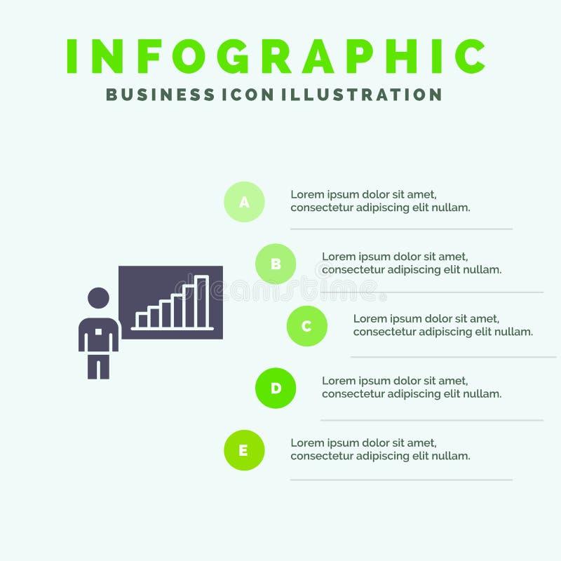 Gráfico, negocio, carta, esfuerzos, fondo sólido de la presentación de los pasos de Infographics 5 del icono del éxito stock de ilustración