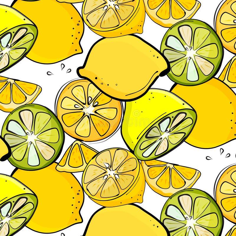 Gráfico orgánico del limón del vector Ejemplo fresco del jugo de la fruta cítrica de la rebanada ilustración del vector
