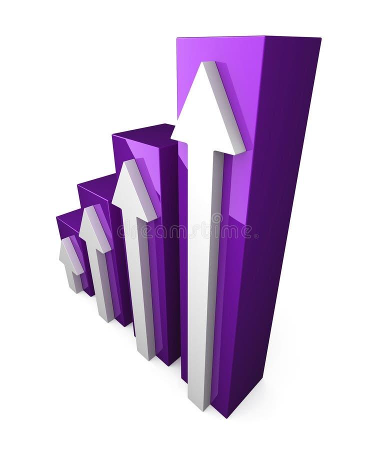 Gráfico púrpura 3D con la flecha blanca foto de archivo