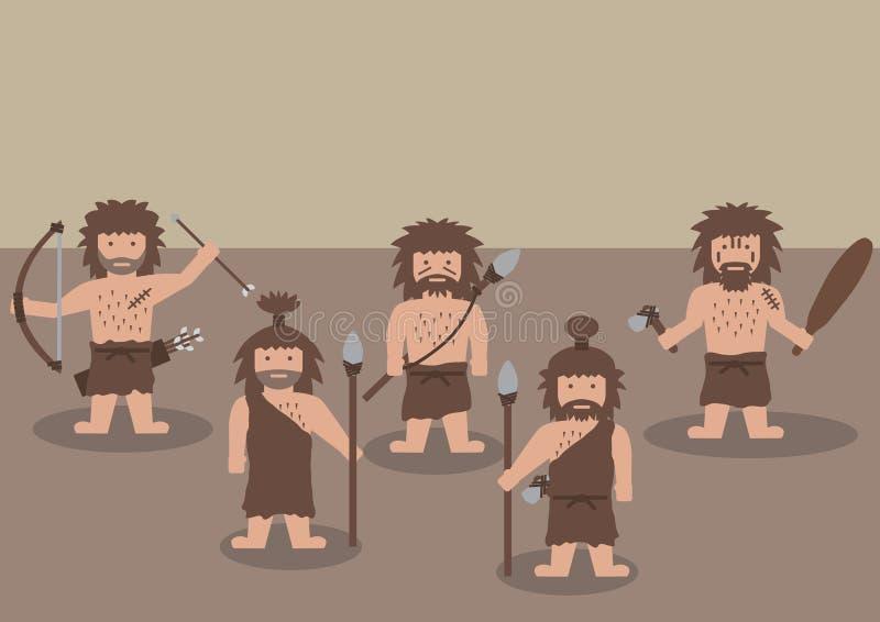 Gráfico plano del guerrero del hombre de las cavernas libre illustration
