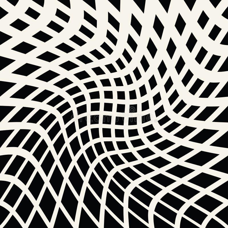Gráfico preto e branco trippy geométrico abstrato do teste padrão do fundo ilustração stock
