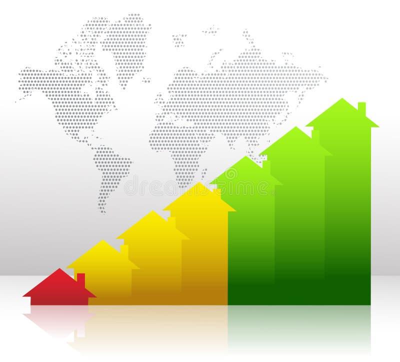 Gráfico que muestra crecimiento financiero de las propiedades inmobiliarias stock de ilustración