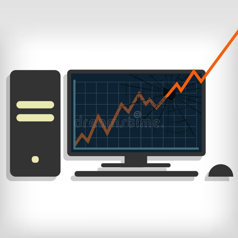 Gráfico que quebra o monitor do PC ilustração royalty free
