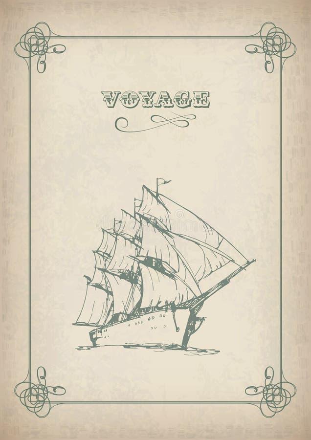 Gráfico retro de la frontera del velero del vintage en el papel viejo stock de ilustración