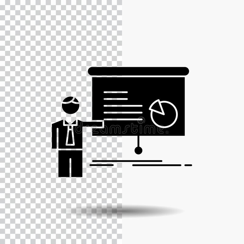 gráfico, reunión, presentación, informe, icono del Glyph del seminario en fondo transparente Icono negro ilustración del vector