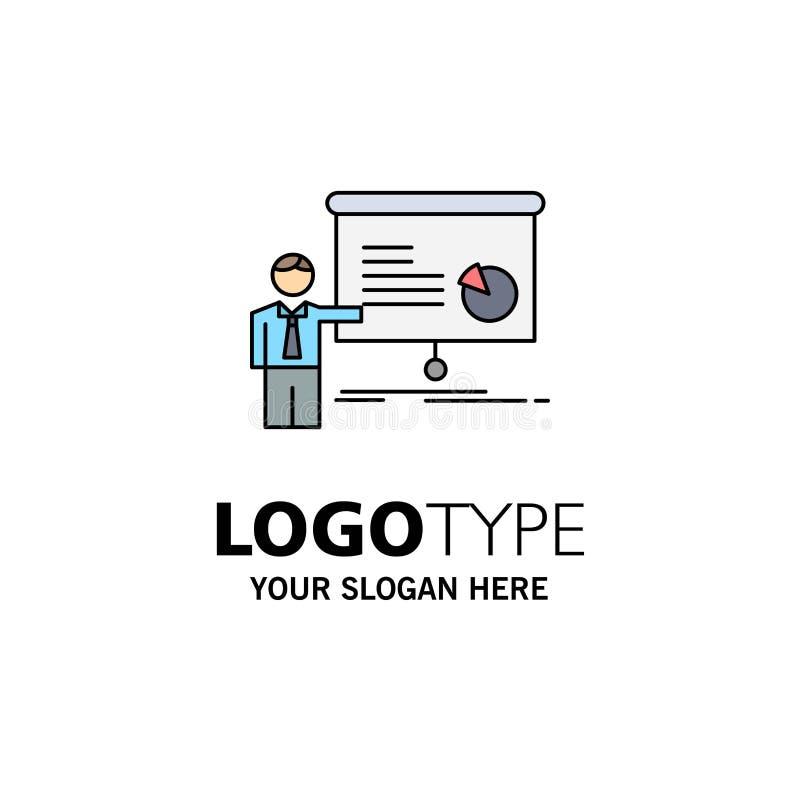 gráfico, reunión, presentación, informe, vector plano del icono del color del seminario ilustración del vector