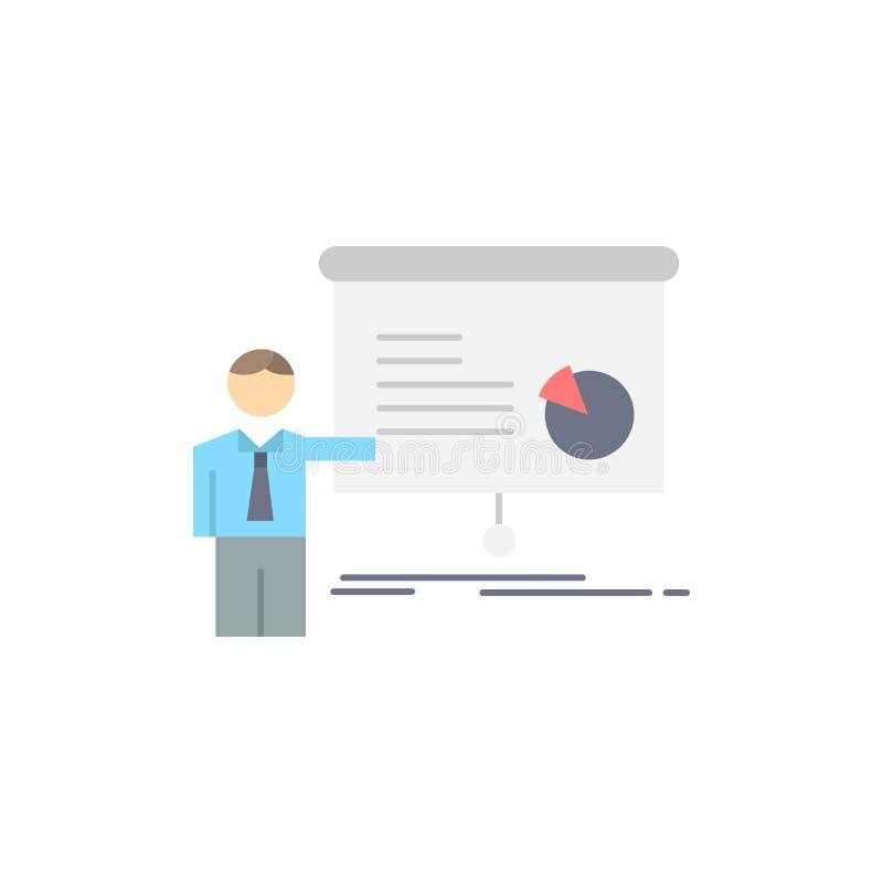 gráfico, reunión, presentación, informe, vector plano del icono del color del seminario libre illustration