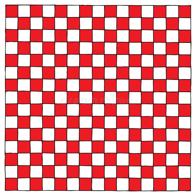 Gráfico rojo y blanco de Checkboard de la mano ilustración del vector