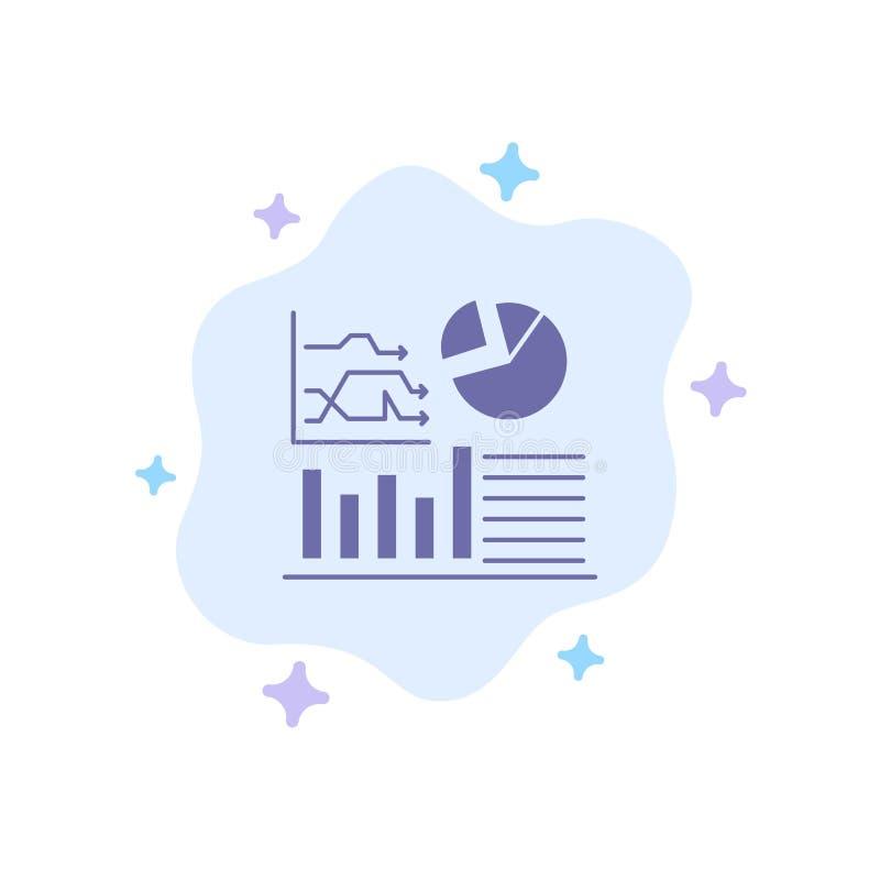 Gráfico, sucesso, fluxograma, ícone azul do negócio no fundo abstrato da nuvem ilustração do vetor