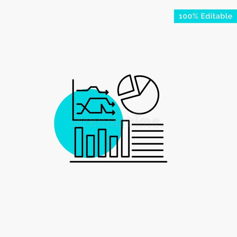 Gráfico, sucesso, fluxograma, ícone do vetor do ponto do círculo do destaque de turquesa do negócio ilustração do vetor