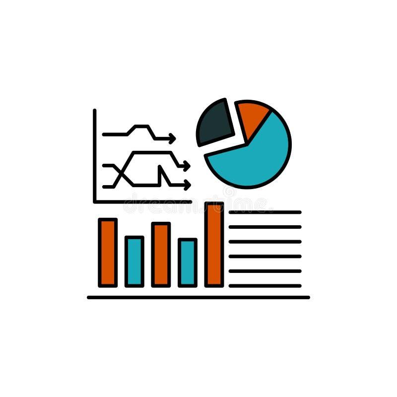 Gráfico, sucesso, fluxograma, ícone liso da cor do negócio Molde da bandeira do ícone do vetor ilustração do vetor