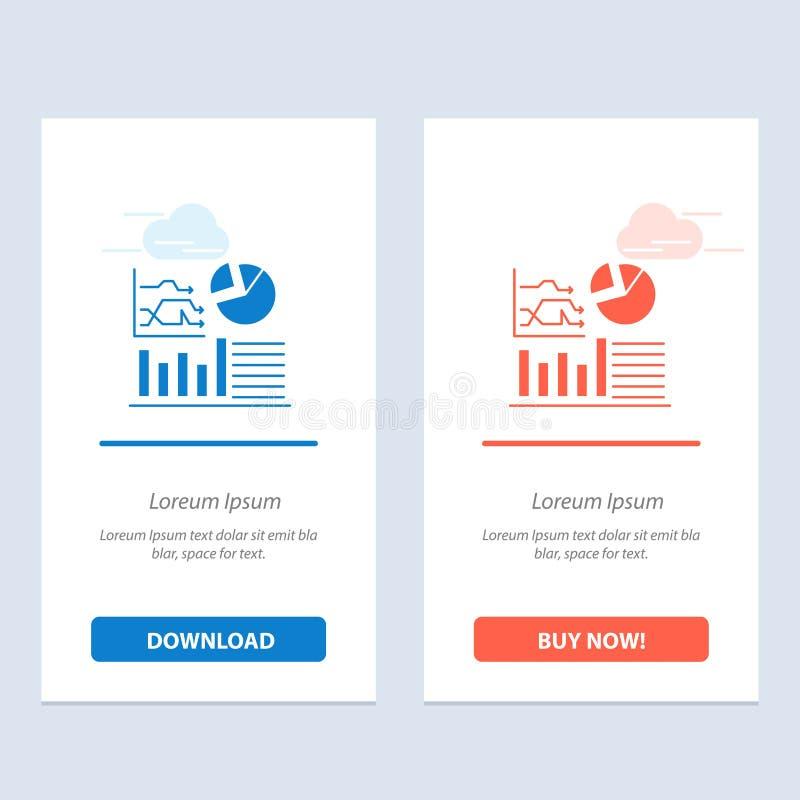 Gráfico, sucesso, fluxograma, azul do negócio e transferência vermelha e para comprar agora o molde do cartão do Widget da Web ilustração royalty free