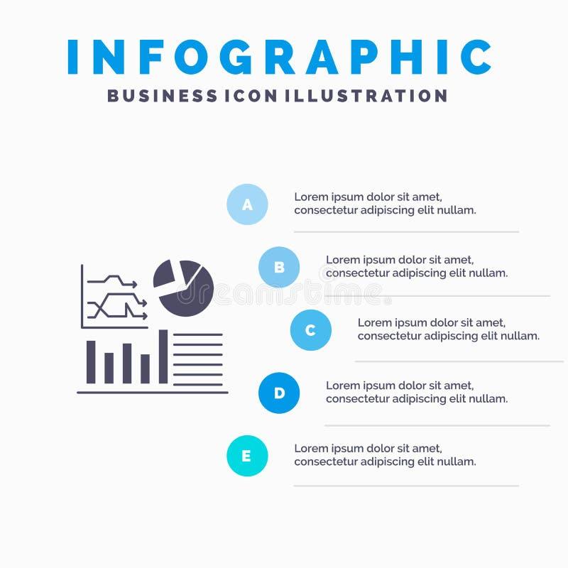Gráfico, sucesso, fluxograma, fundo contínuo da apresentação das etapas de Infographics 5 do ícone do negócio ilustração stock