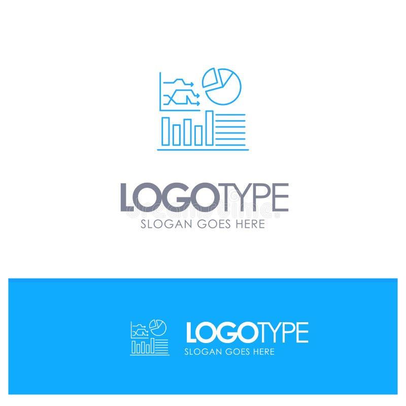 Gráfico, sucesso, fluxograma, logotipo azul do esboço do negócio com lugar para o tagline ilustração do vetor