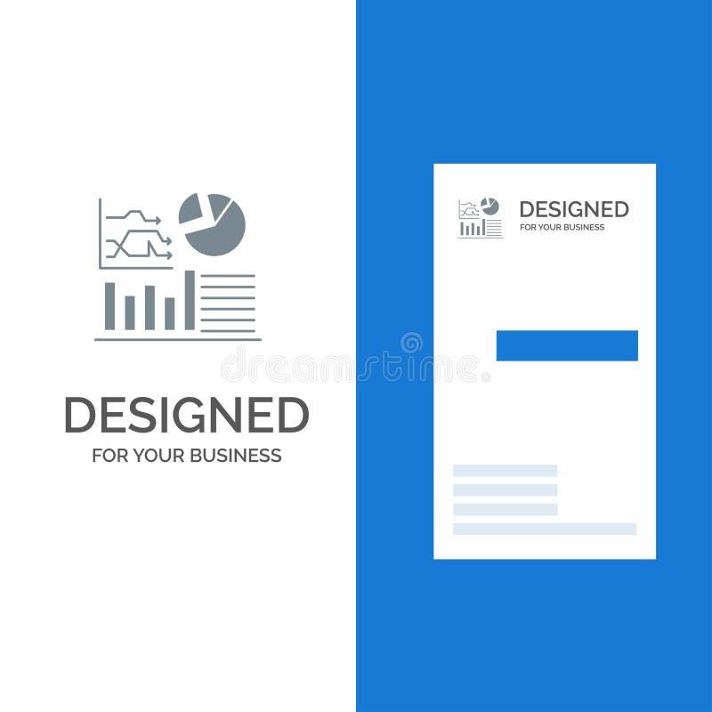 Gráfico, sucesso, fluxograma, negócio Grey Logo Design e molde do cartão ilustração royalty free