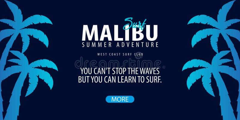 Gráfico surfando de Malibu com palmas Bandeira do vetor do clube da ressaca ilustração stock
