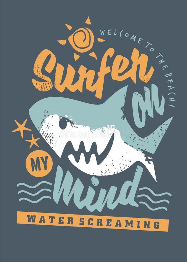 Gráfico surfando do t-shirt com tubarão dos desenhos animados ilustração do vetor