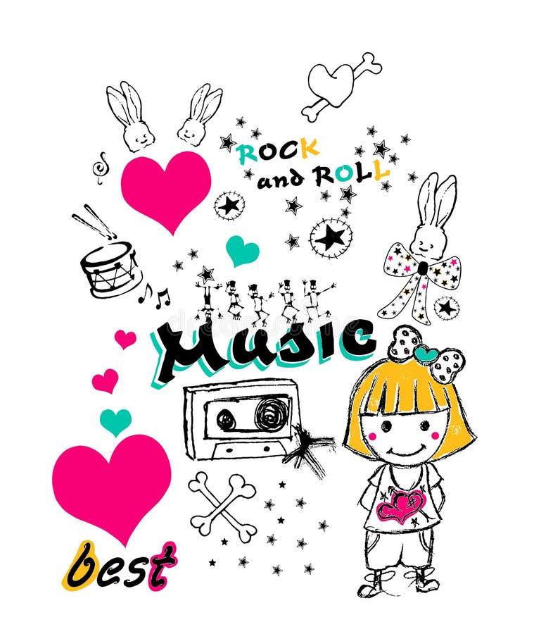 gráfico temático de la música, impresión de la camiseta stock de ilustración