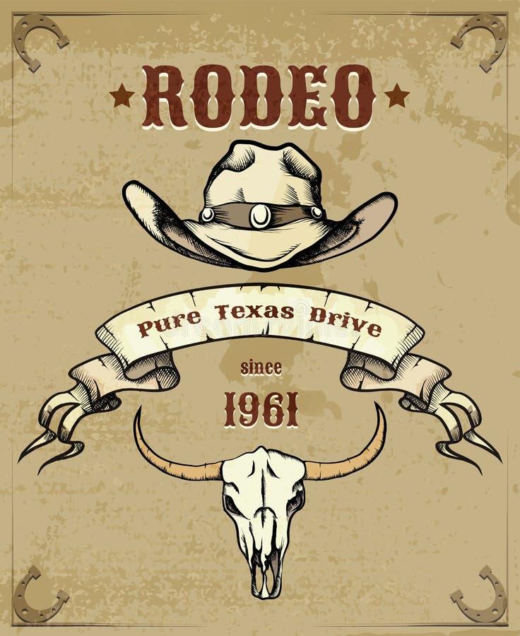 Gráfico temático do rodeio com vaqueiro Hat e crânio ilustração stock