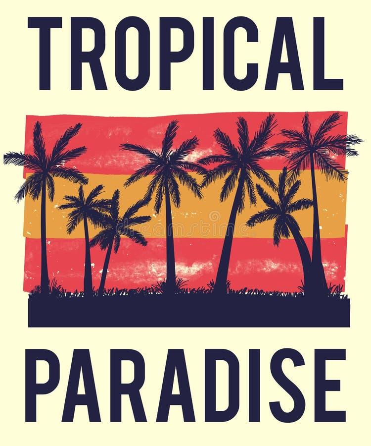 Gráfico tropical de la camiseta del paraíso de la palmera imagenes de archivo