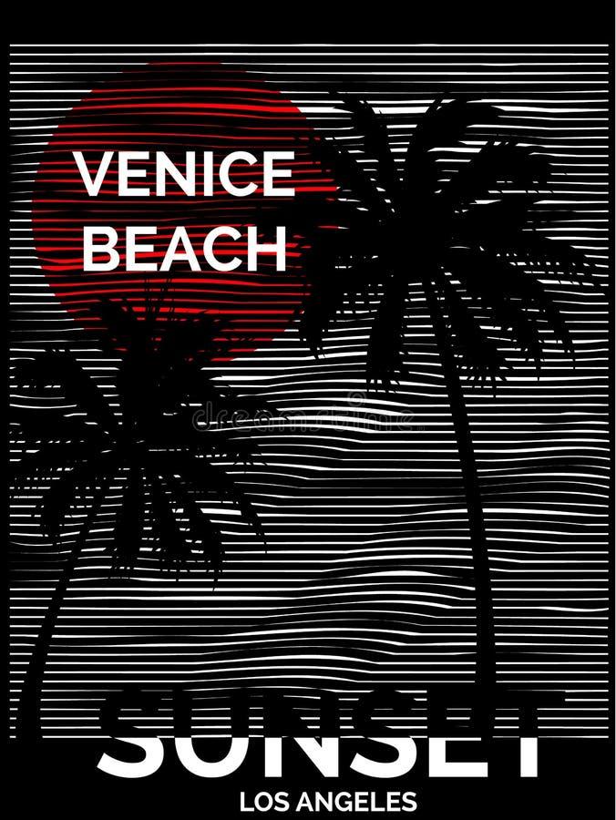 Gráfico tropical del vintage con la playa Los de Venecia del diseño de la tipografía ilustración del vector